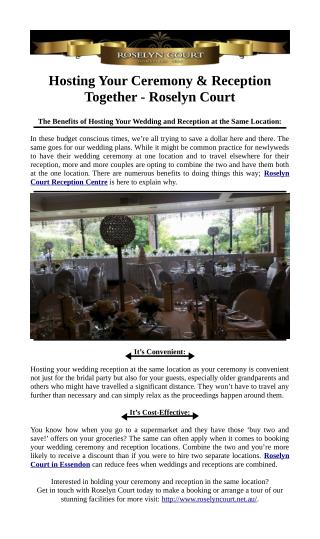 Hosting Your Ceremony & Reception Together - Roselyn Court