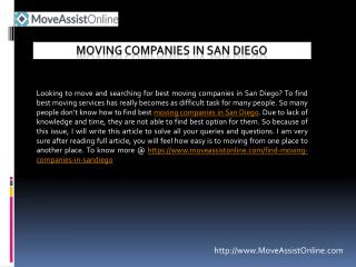 Top Moving Companies in San Diego