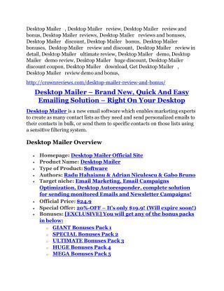 Desktop Mailer review-(SHOCKED) $21700 bonuses
