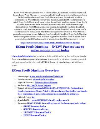 eCom Profit Machine Detail Review and eCom Profit Machine $22,700 Bonus