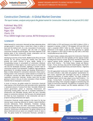 Construction Chemicals – A Global Market Overview