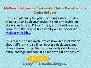 MyDreamHoliday - Book Cruise Holiday Online