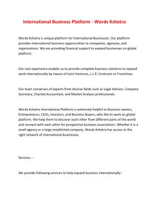 International Business Platform - Words Kshetra