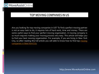 Find Top Moving Companies in US