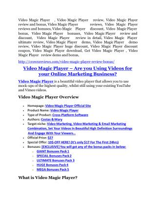 Video Magic Player review - EXCLUSIVE bonus of Video Magic Player