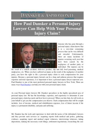 How Paul Dansker a Personal Injury Lawyer Can Help With Your Personal Injury Claim?