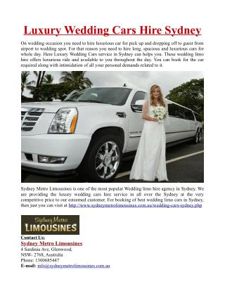 Luxury Wedding Cars Hire in Sydney