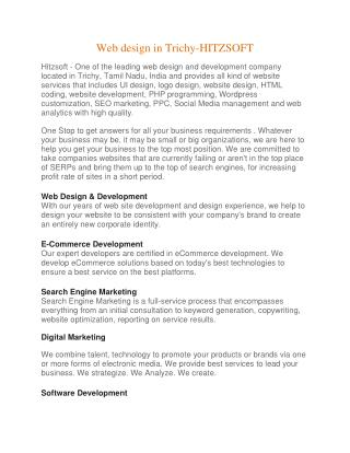 Web design in Trichy |Trichy web design | Website Development company |Best web design-HITZSOFT