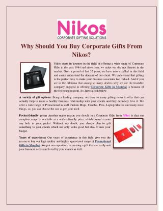 Why Should You Buy Corporate Gifts From Nikos