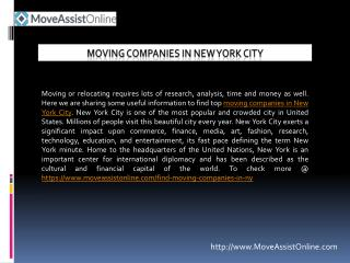 Find Top Moving Companies in New York City