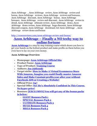 Azon Arbitrage review and sneak peek demo