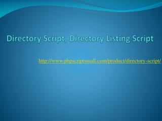 Directory Script, Directory Listing Script