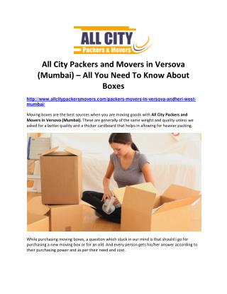 All City Packers and Movers in Versova (Mumbai) – All You Need To Know About Boxes