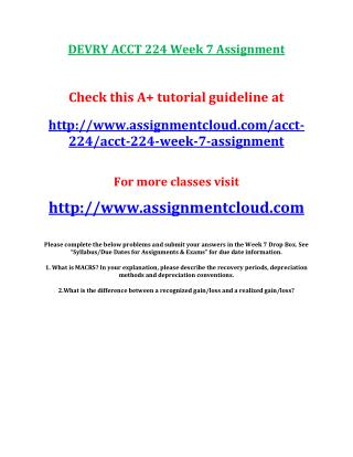 DEVRY ACCT 224 Week 7 Assignment