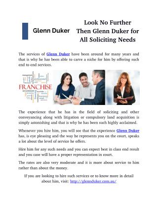 Look No Further Then Glenn Duker for All Soliciting Needs