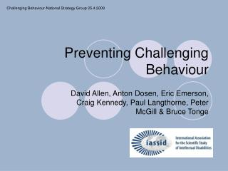 Preventing Challenging Behaviour