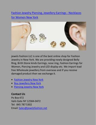 Fashion Jewelry Piercing, Jewellery Earrings - Necklaces for Women New York
