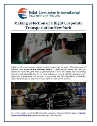 Making Selection of a Right Corporate Transportation New York