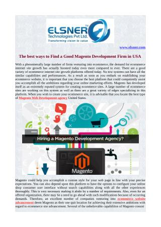 The best ways to Find a Good Magento Development Firm in USA