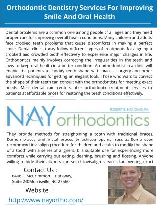 Orthodontic Dentistry Services For Improving Smile And Oral Health