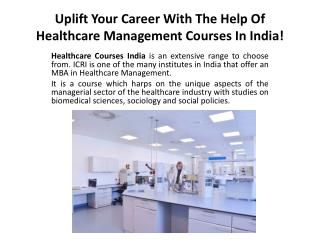 Career With The Help Of Healthcare Management Courses