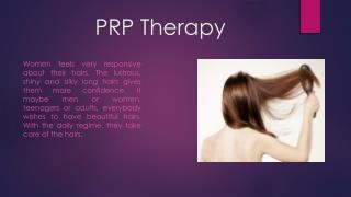 PRP therapy for hair thinning treatment
