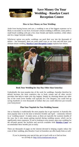 Save Money On Your Wedding - Roselyn Court Reception Centre