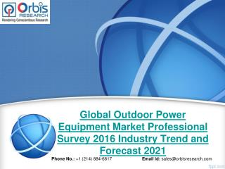 2016 Global Outdoor Power Equipment Market Professional Survey Trend Analysis
