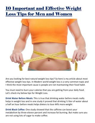 10 Important and Effective Weight Loss Tips for Men and Women