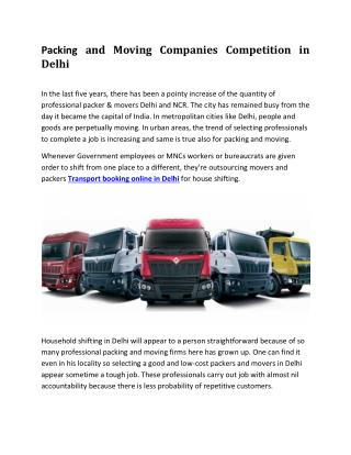 Packing and Moving Companies Competition in Delhi