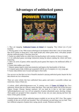 Advantages of unblocked games