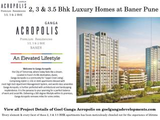 Residential Properties for Sale on Baner-Sus Road Pune at Ganga Acropolis