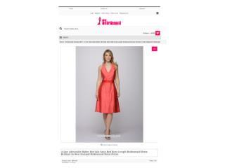 Satin Red Knee Length Bridesmaid Dress