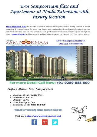 Apartments for Healthy and good Life at eros sampoornam Noida