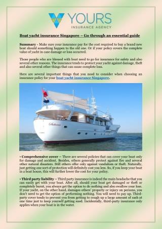 Boat yacht insurance Singapore – Go through an essential guide