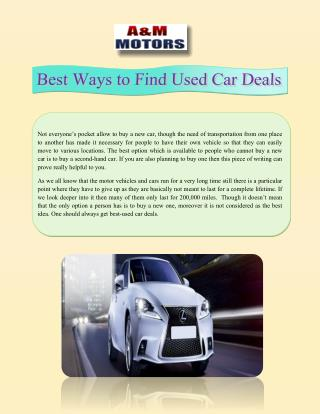 Best Ways to Find Used Car Deals