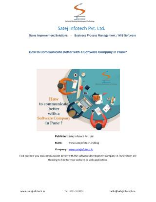 How to Communicate Better with a Software Company in Pune?