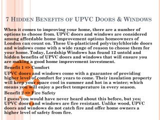 7 Hidden Benefits of UPVC Doors & Windows