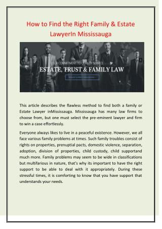 Family & Estate LawyerIn Mississauga