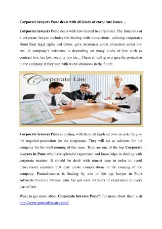 Corporate Lawyers Pune | Pune Advocates