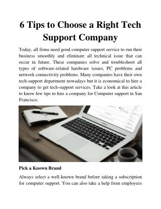 6 Tips to Choose a Right Tech Support Company