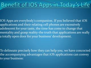 Benefit of IOS Apps in Today's Life