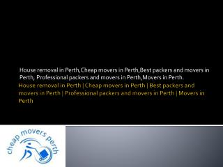 Best packers and movers in Perth