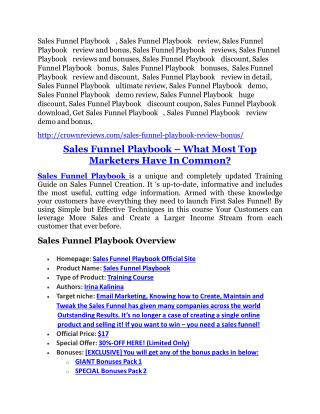 Sales Funnel Playbook Review-$24,700 BONUS & DISCOUNT