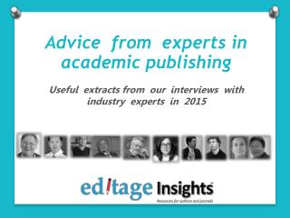 Academic publishing advice from industry experts