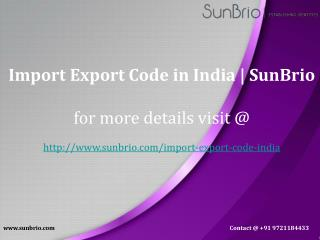 Import Export Code in India | SunBrio