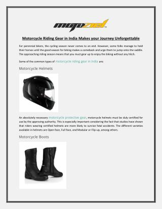 Motorcycle Riding Gear in India Makes your Journey Unforgettable