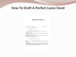 How To Draft A Perfect Lease Deed