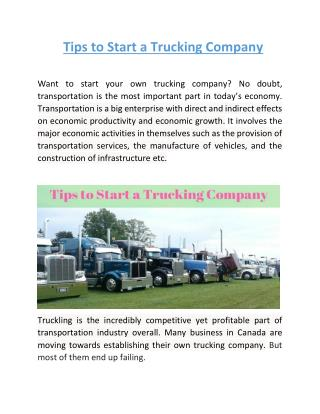 Tips to Start a Trucking Company