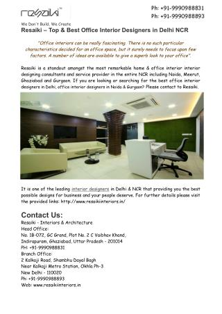 Top Office Interior Designers in Delhi,Noida,Gurgaon